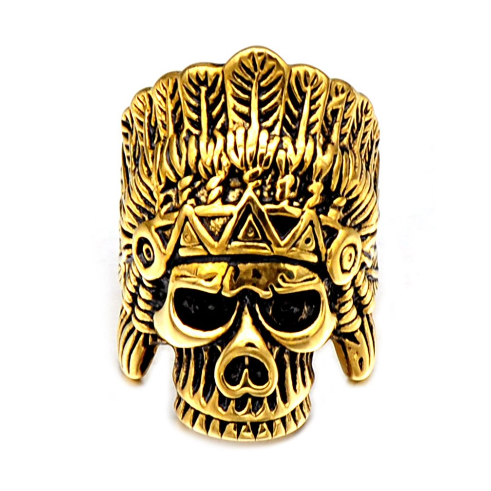 SAINTHERO Men's Vintage Stainless Steel Band Rings Gothic Indian Chief Skull Hip-hop Jewelry Punk Biker Rings Gold Black 12 by SAINTHERO (Image #2)