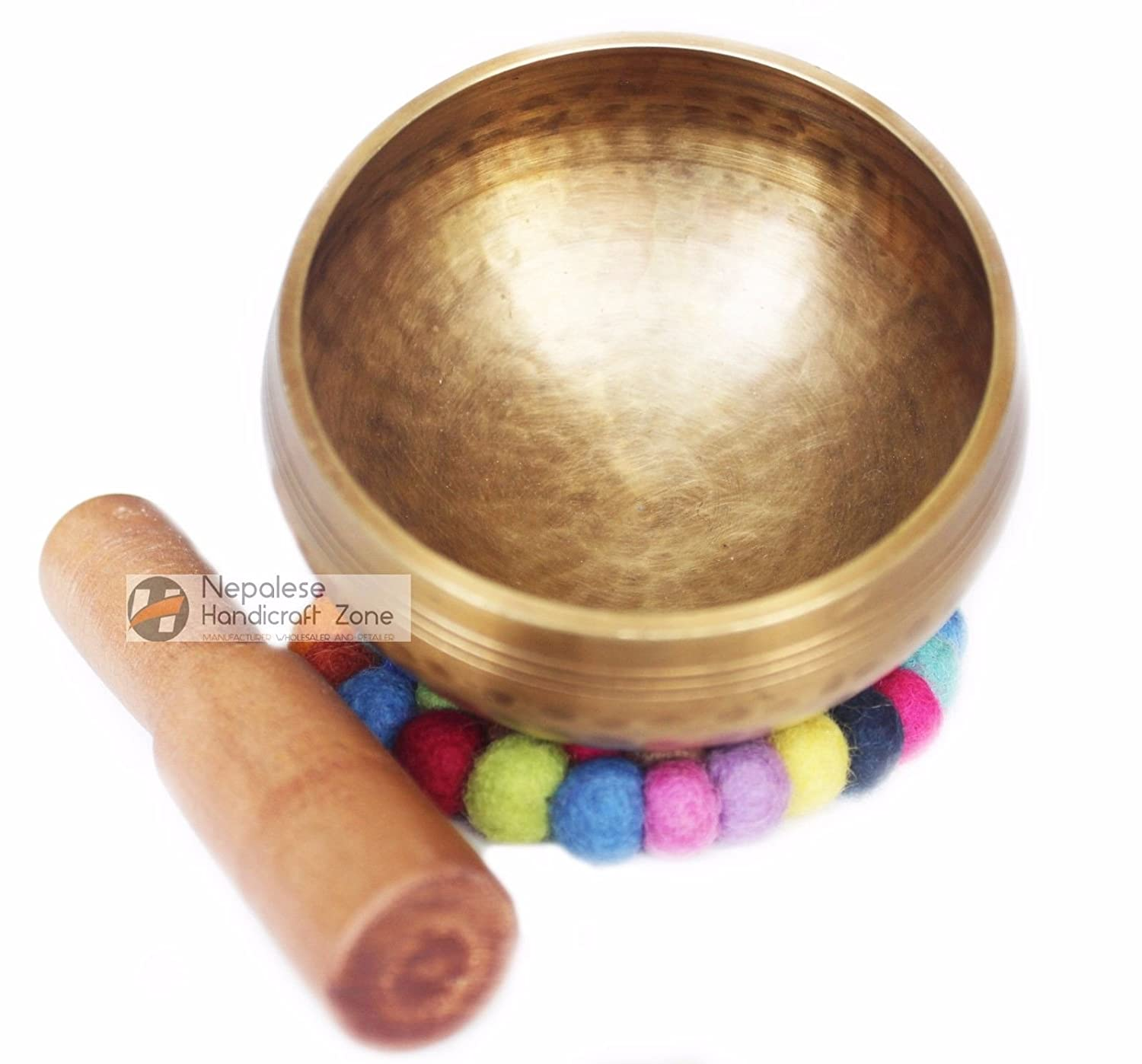 Singing Bowl Tibetan Meditation and Mallet Yoga Healing Buddhist Brass 4 Set by Nepalese Handicraft Zone 1