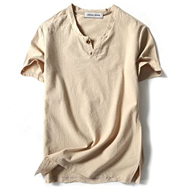 b3b10805534bc5 LOCALMODE Men Linen and Cotton V Neck Short Sleeve T Shirts Casual Tee:  Amazon.ca: Clothing & Accessories