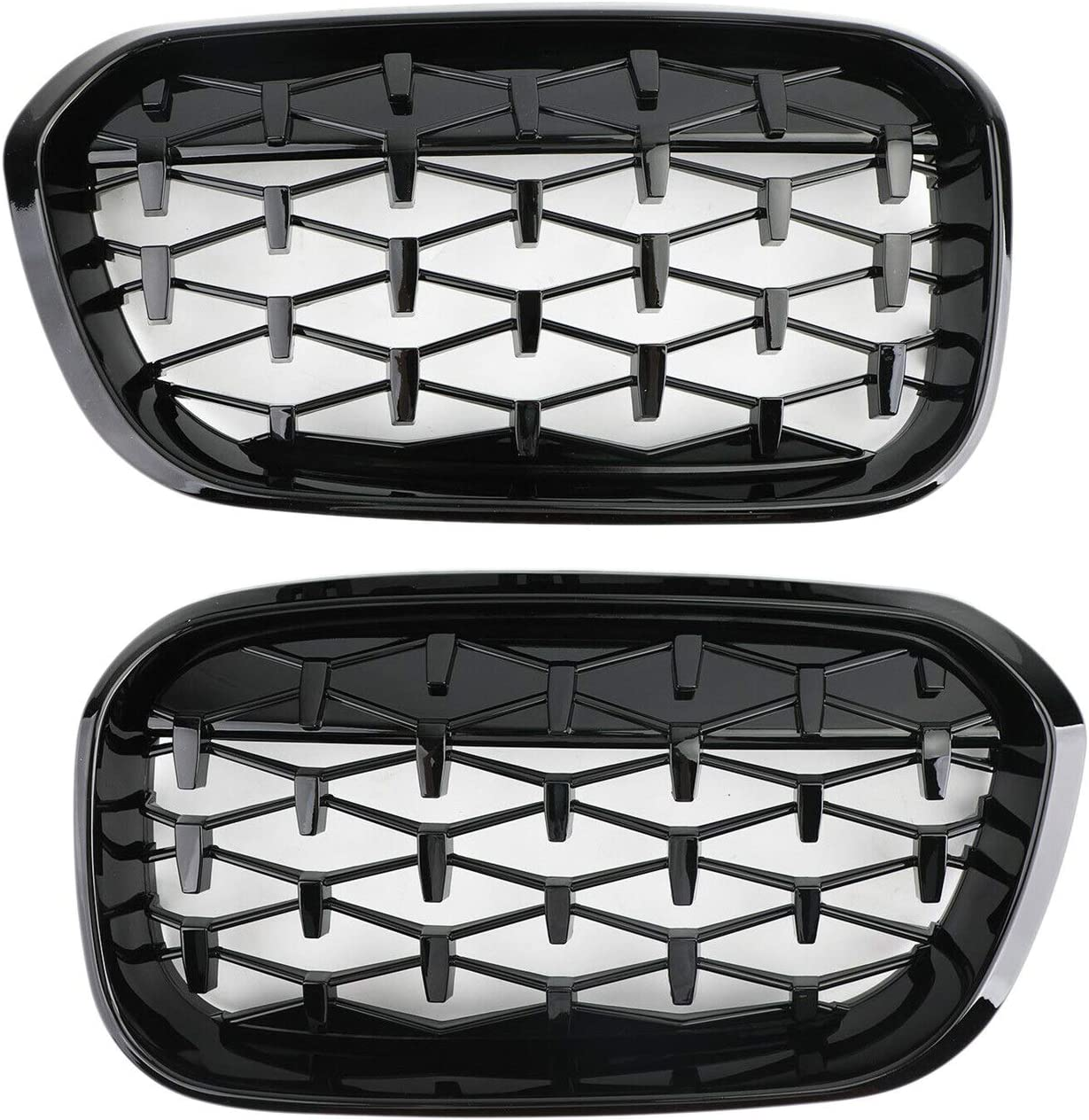 Nrpfell Front Kidney Grill Front Hood Diamond Grille Meteor Grill For 1 Series F20 F21 LCI 2015-2017 Black