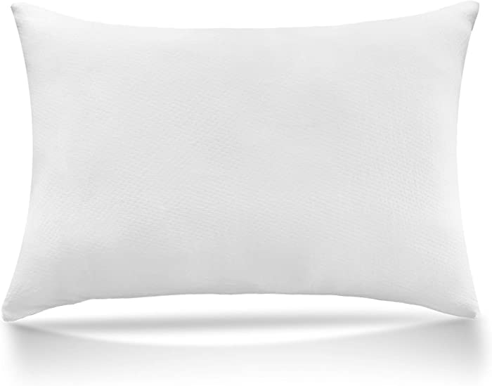 Shredded Memory Foam Bed Pillow Luxury Loft Home Pillow Hotel Collection, Pillow for Sleeping Support Side Back Stomach Sleepers Hypoallergenic Grade Washable Bamboo Cover (Off White, Standard)