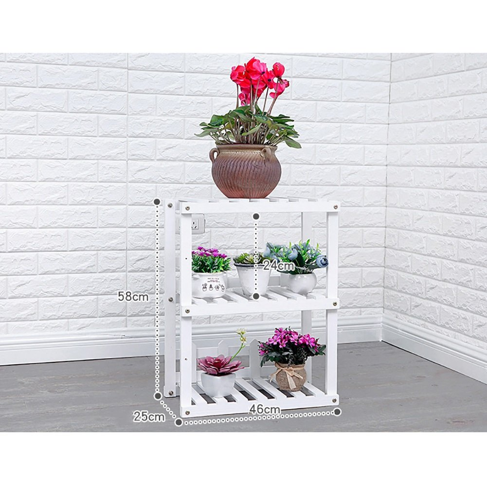 LXLA- Combinazione Vaso di fiori Stand in legno massello Espositore per piantatrice a più piani Scaffale per piante da interno in vaso da terra (colore   Bianca, dimensioni   46×25×58cm)