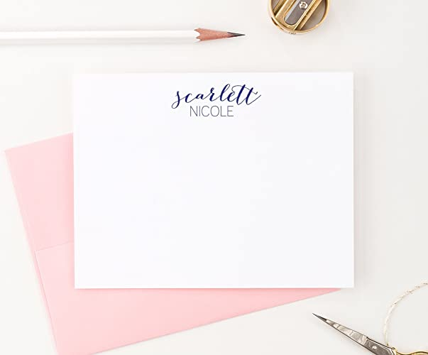personalized stationery set personalized flat note cards your choice of colors set of - Personalized Flat Note Cards