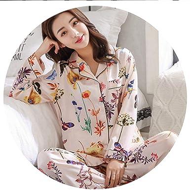 b69d1b114d473e Women Satin Pajama Sets Long Sleeve Print Pijama Silk Pyjamas Suit ...