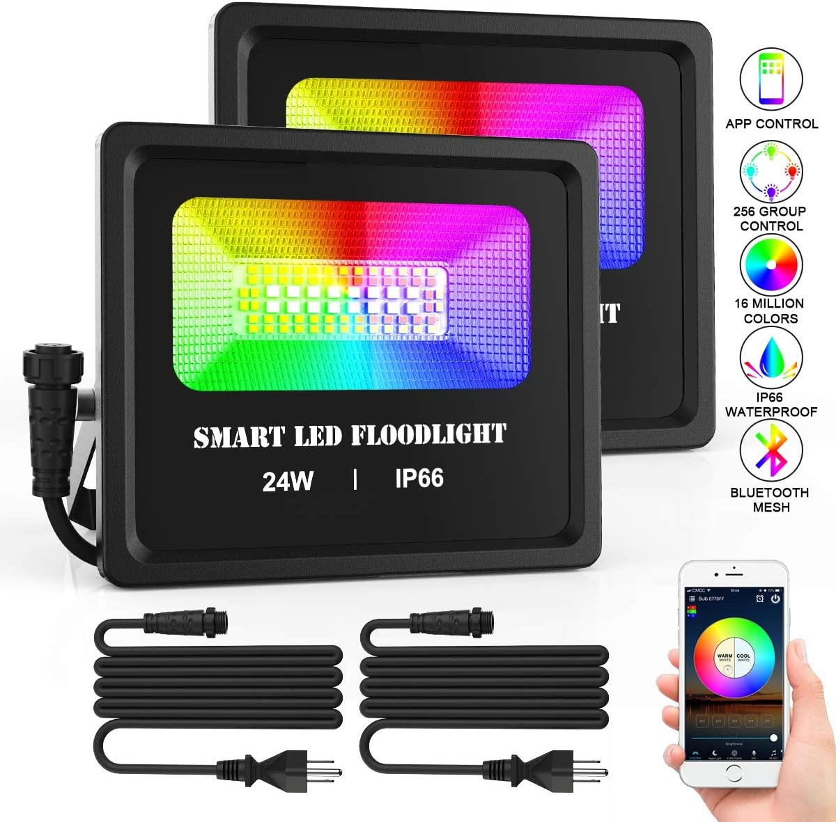 RGB LED Flood Light 24W 6500K 16 Million Color Changing Stage Lights, Bluetooth Smart Outdoor Lights for Party, Tree light, Spot lights, IP66 Waterproof, US Plug