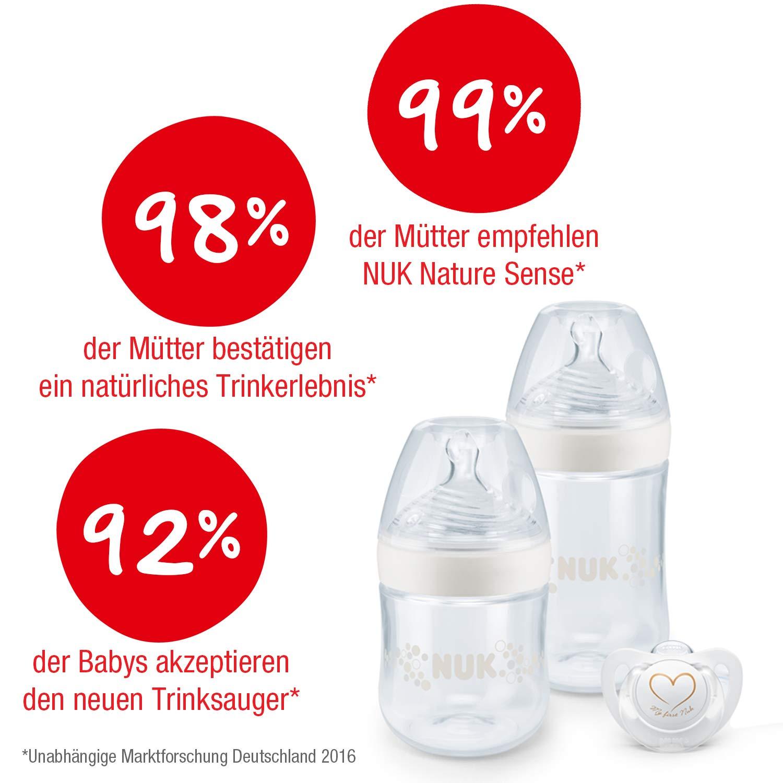 Set de biberones Nature Sense de NUK, de polipropileno sin BPA, de 0 a 6 meses, lo más parecido al pecho materno blanco Weiß