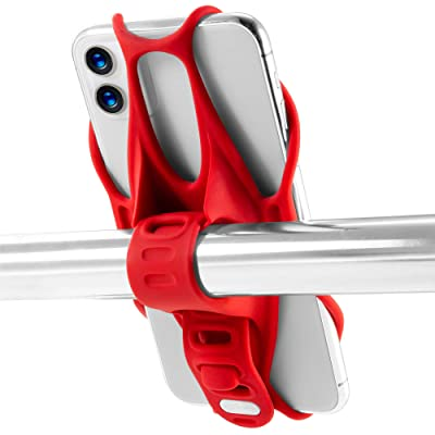 "Bone Universal Bike Phone Mount for Motorcycle - Bicycle Handlebars, Adjustable, Fits iPhone 11 | 11 Pro, X, XR, 8 | 8 Plus, 7 | 7 Plus, 6s, Galaxy, S10, S9, S8, Holds Phones from 5.8"" to 7.2"", Red"