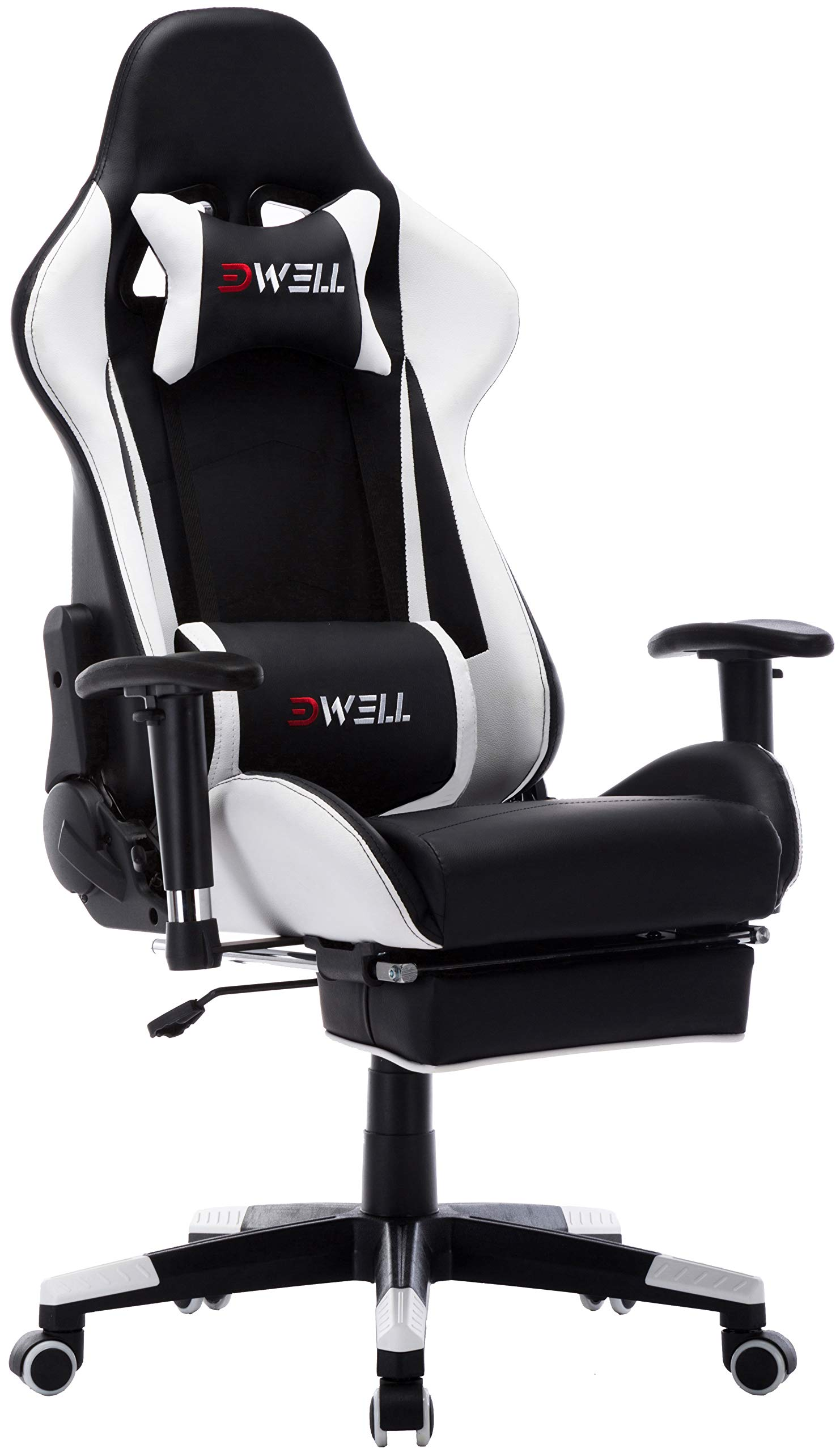 Computer Gaming Chair Office Desk Chair,Large Size Racing Chair High-Back Ergonomic PU Leather Adjustable Esports Desk Chair with Headrest Massage Lumbar Support Retractable Footrest (White) by Ansuit
