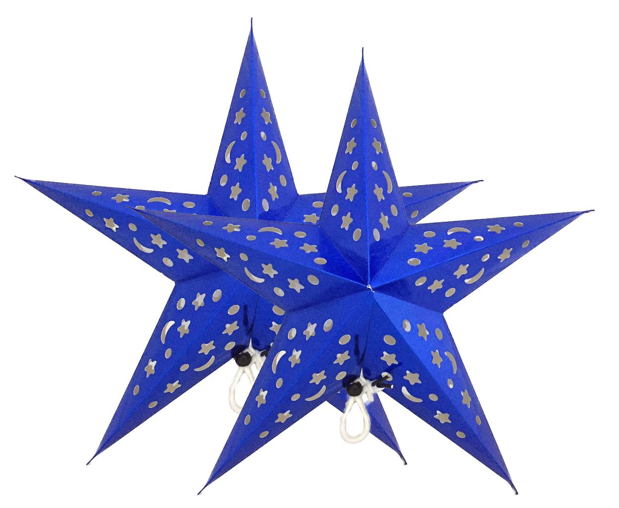 SiamSiri a Pair of 9'' Medium Paper Blue Star Lantern 3D Pentagram Lampshade for Christmas Xmas Party Holloween Birthday Colorful Hanging Home Indoor Outdoor Decorations (Lights Not Included)