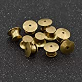 lychee 10pcs Brass Pin Backs Locking Flathead Pin