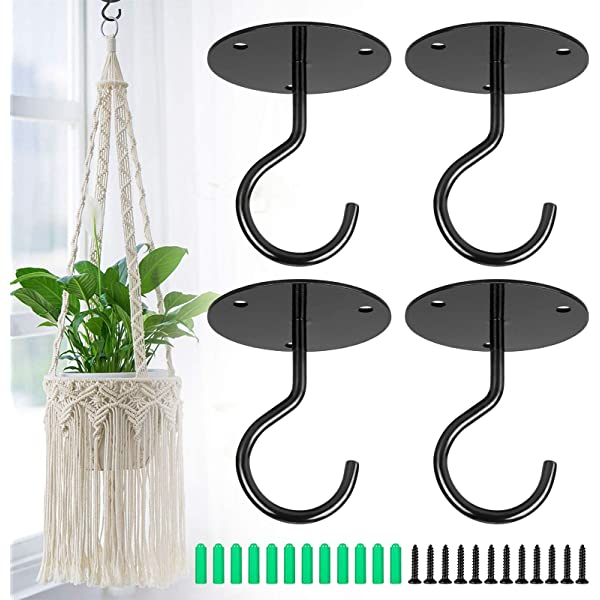 4 Pack Metal Wall Mounted Ceiling Hooks for Hanging Plants Ceiling Hook