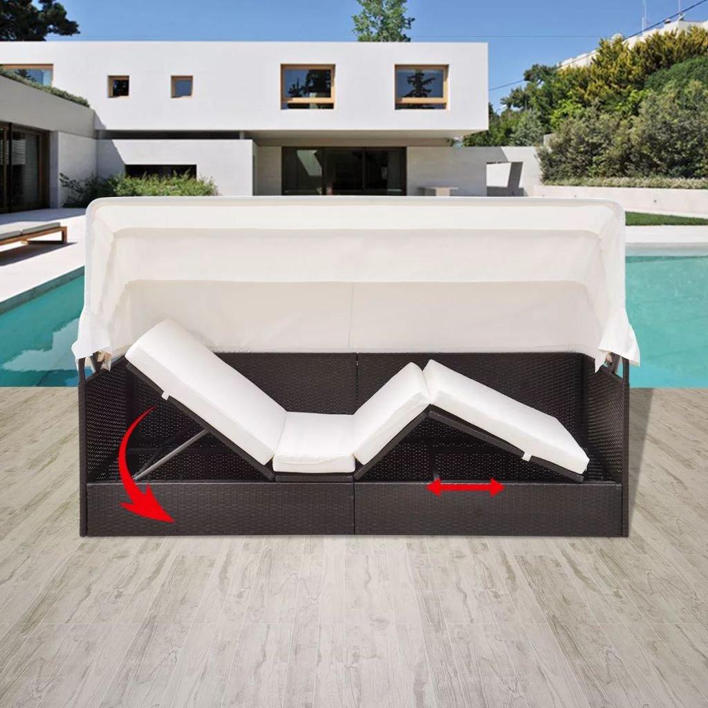 tidyard Chaise Longue Réglable avec Auvent en Résine Tressée Imperméable Protection UV Marron 205 x 62 x 70 cm