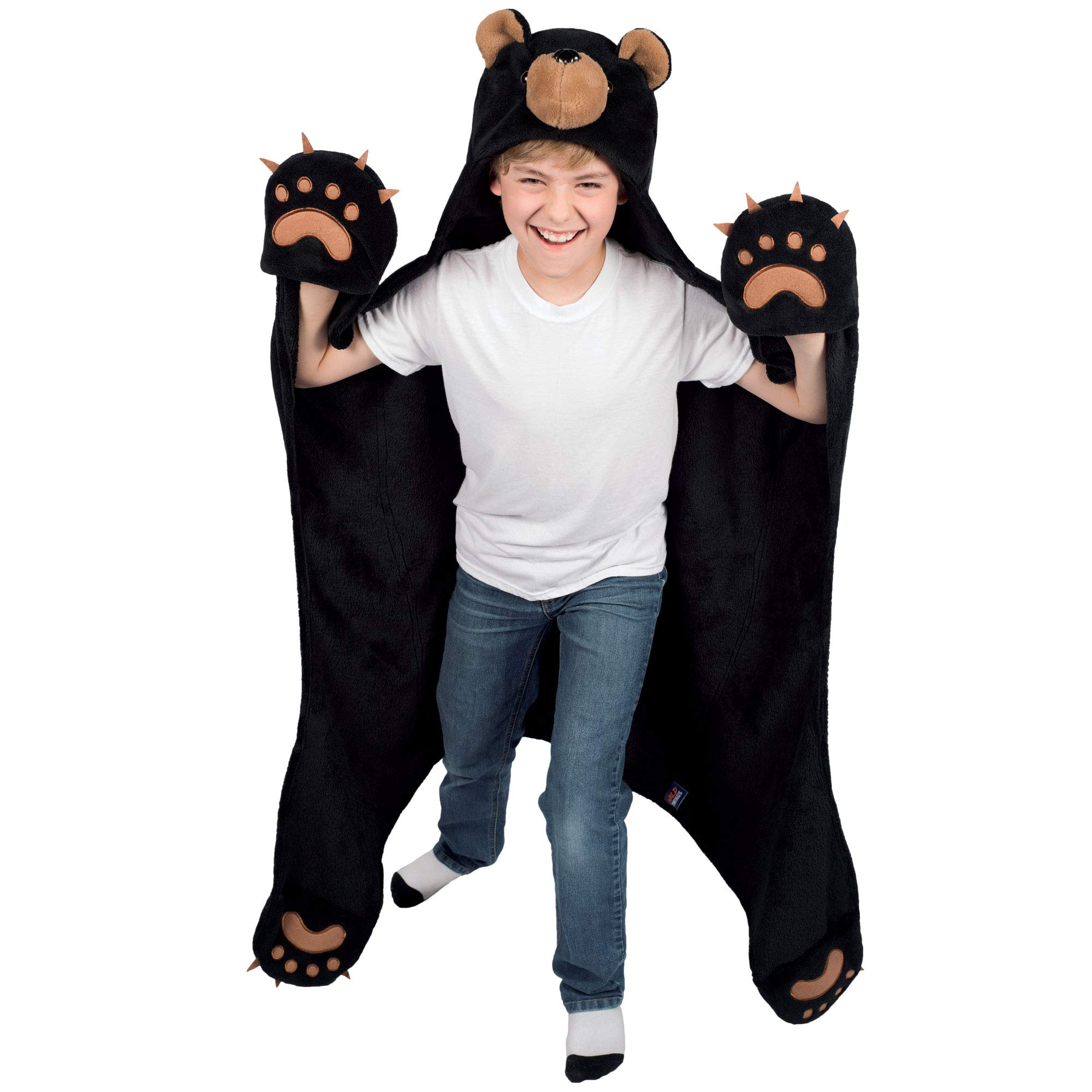 Cinder Black Bear Blanket for Boys and All Kids - Wearable and Hooded Fleece Blankets - Gifts by Wild Things by Fin Fun