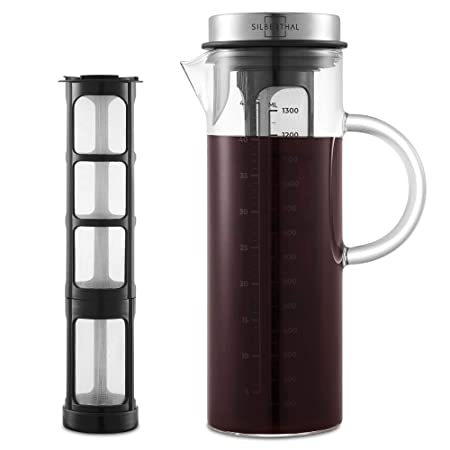 SILBERTHAL Cold Brew Coffee Maker | Cafetera Fria 1,3l | Jarra Nevera | Jarra Cristal con Tapa | Prepara café Frio o té
