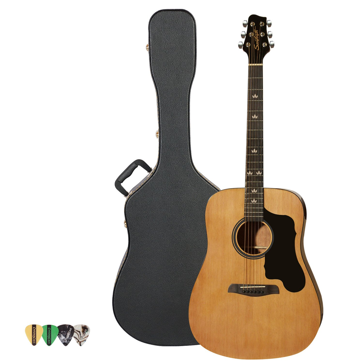 Sawtooth Acoustic Guitar with Black Pickguard - Includes: Picks & Hard Case