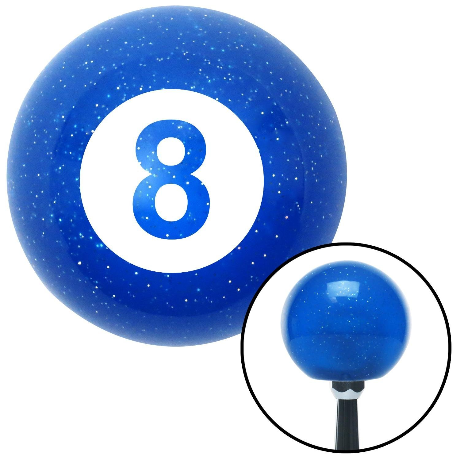 White 8 Ball American Shifter 20390 Blue Metal Flake Shift Knob with 16mm x 1.5 Insert