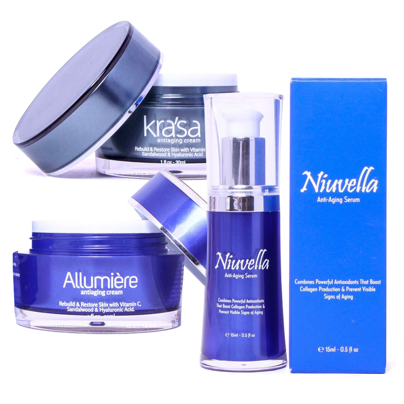 All in One Anti-Aging Treatment with Krasa Anti-Aging Cream - Allumiere Anti-Aging Cream - Niuvella Anti-Aging Serum