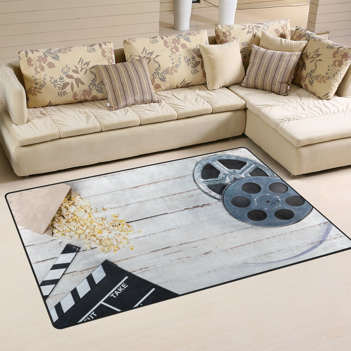 WOZO Film Reel Movie Clapper Wheel Wooden Area Rug Rugs Non-Slip Floor Mat Doormats Living Room Bedroom 31 x 20 inches