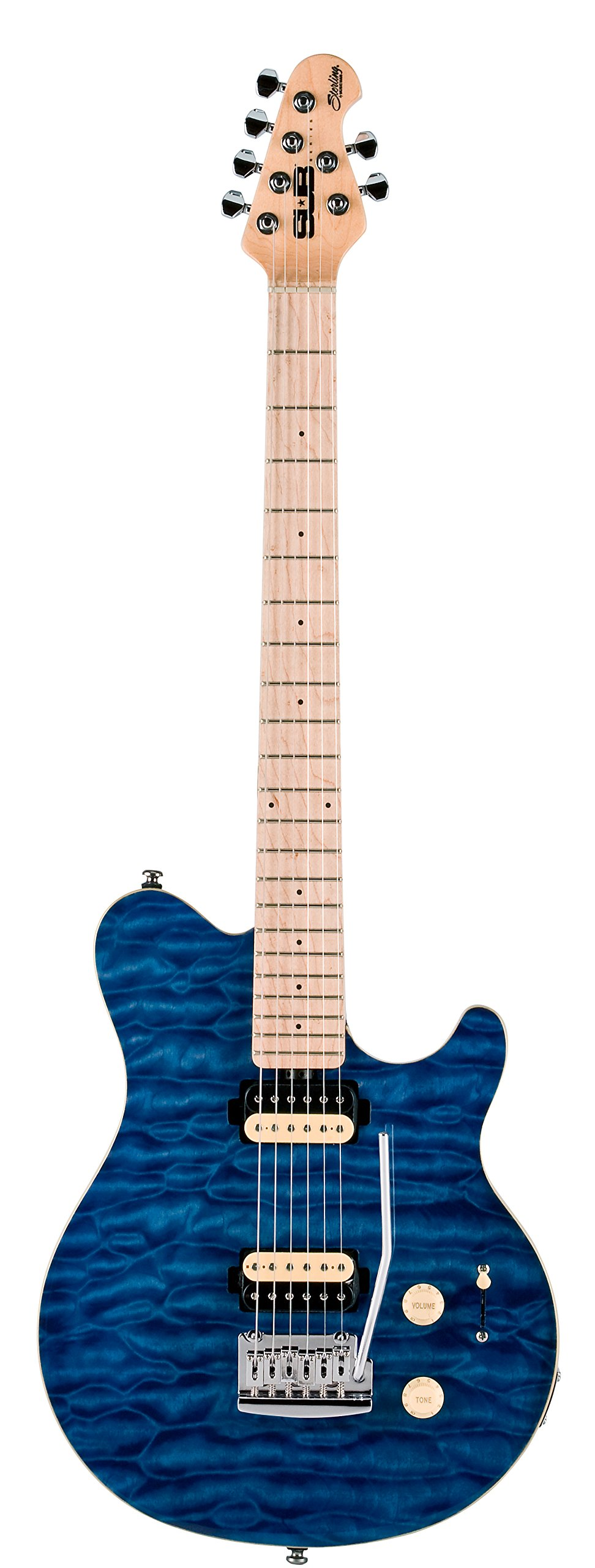 Sterling by Music Man S.U.B. Series AX3 Axis Electric Guitar, Translucent Blue