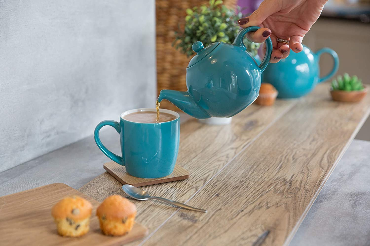 17221295 by Dexam London Pottery UK Globe British Design 2 Cup Teapot 0.6L Turquoise Bora Blue