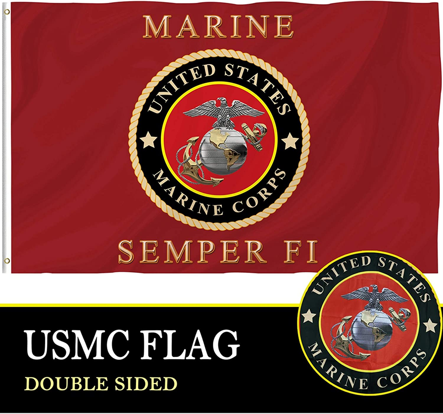 Bonsai Tree Marine Corps Flag 4x6 Ft, Double Sided and Double Stitched Polyester USMC Flags with Brass Grommets, American Military Marines Home Outdoor Banners Decorations Gifts
