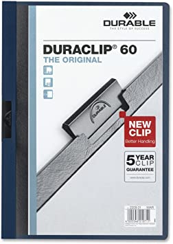 BOX 50 1 TO 60 PAGE CAPACITY BLUE DURABLE SPINE BINDER CLIPS