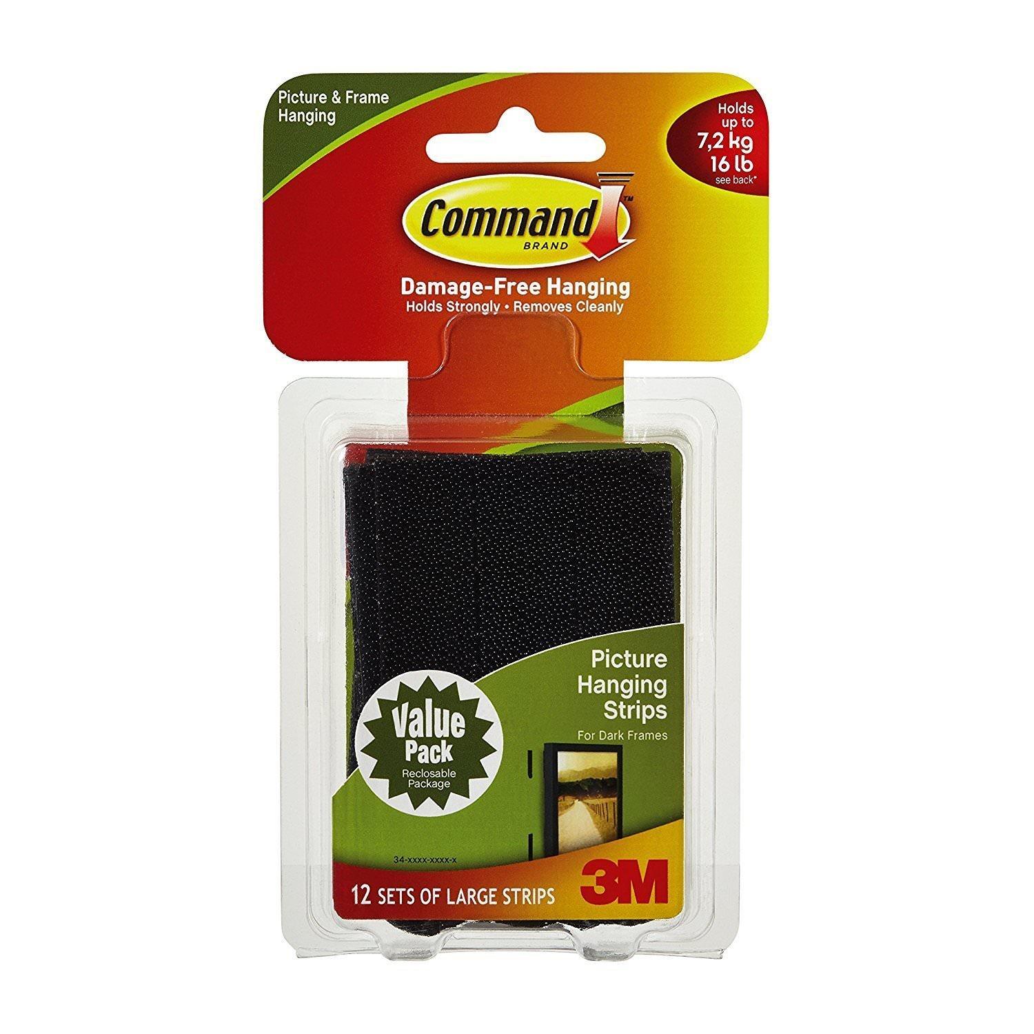 Command BuolWG Picture Hanging Strips, Large, Black, 24 Pairs (2 Units) by Command