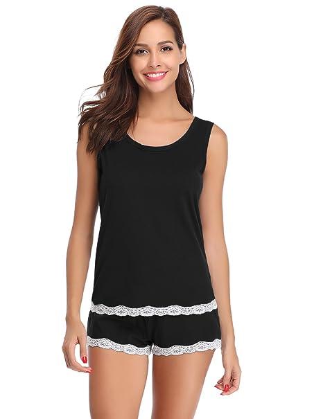 Hawiton Pijamas Mujer Verano Cortos Camiseta de Tirantes y Unos Pantalones de Algodón para Mujer 2