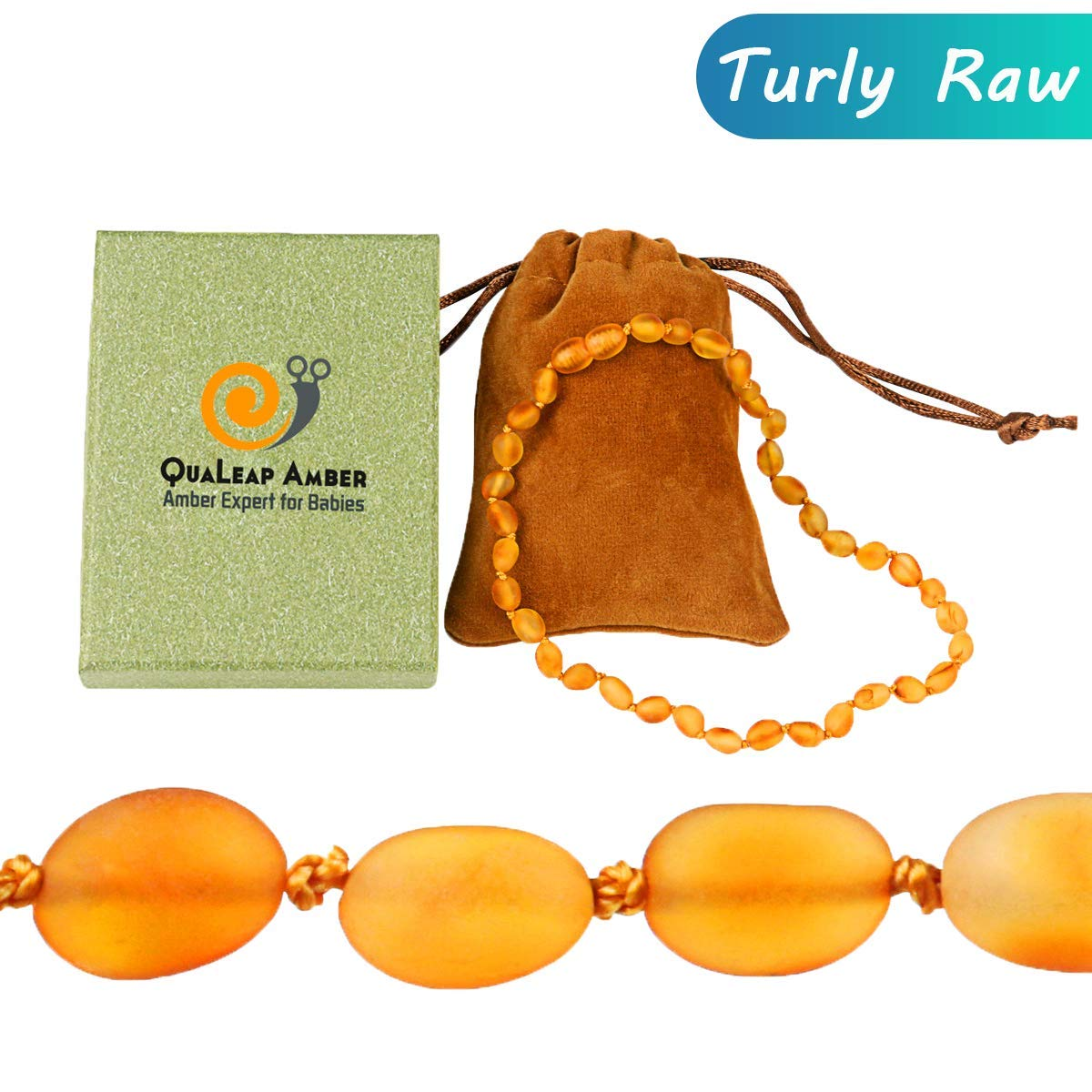 Raw Baltic Amber Teething Necklace for Baby (Unisex - Raw Cherry - 12.5 Inches), 100% Authentic Unpolished Amber Necklace for Infant & Toddler Teething Relief QuaLeap Amber