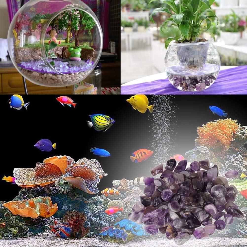 POPETPOP Natural Amethyst Stone Fish Tank Purple Rocks Vase Crystal Gravel Rock Decoration 4pcs