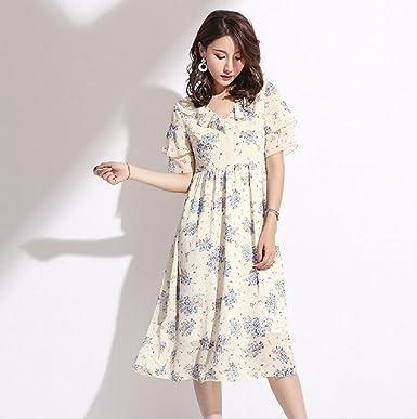 WBXZAL Gasa Vestido de Manga Corta Estampado, Coreano, Hoja de ...