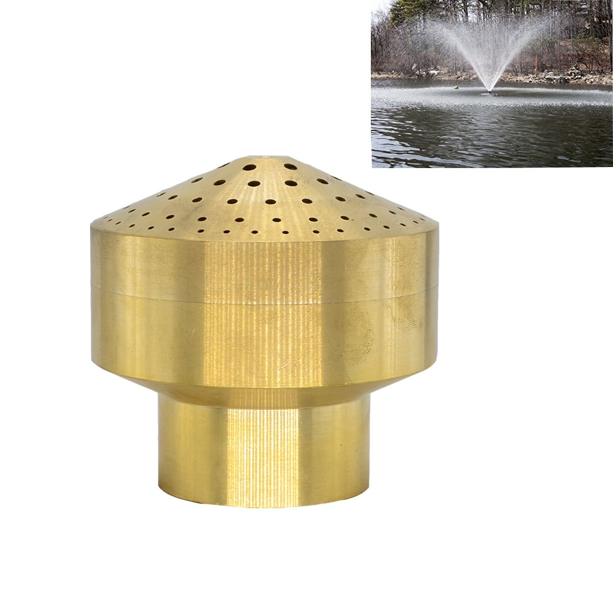Thaoya Brass Column Garden Square Fireworks Pool Pond Fountain Nozzle Sprinkler Spray Head SSH328 (1.5'')