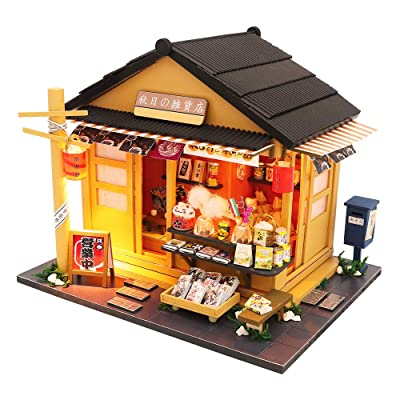 Spilay DIY Dollhouse Miniature with Wooden Furniture,Handmade Japanese Style Home Craft Model Mini Kit with Dust Cover&LED,1:24 Scale Creative Doll House Toys for Adult Teenager Gift(Grocery Store): Toys & Games