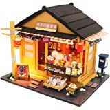 Spilay DIY Dollhouse Miniature with Wooden Furniture,Handmade Japanese Style Home Craft Model Mini Kit with Dust Cover&LED,1:24 Scale Creative Doll House Toys for Adult Teenager Gift(Grocery Store)