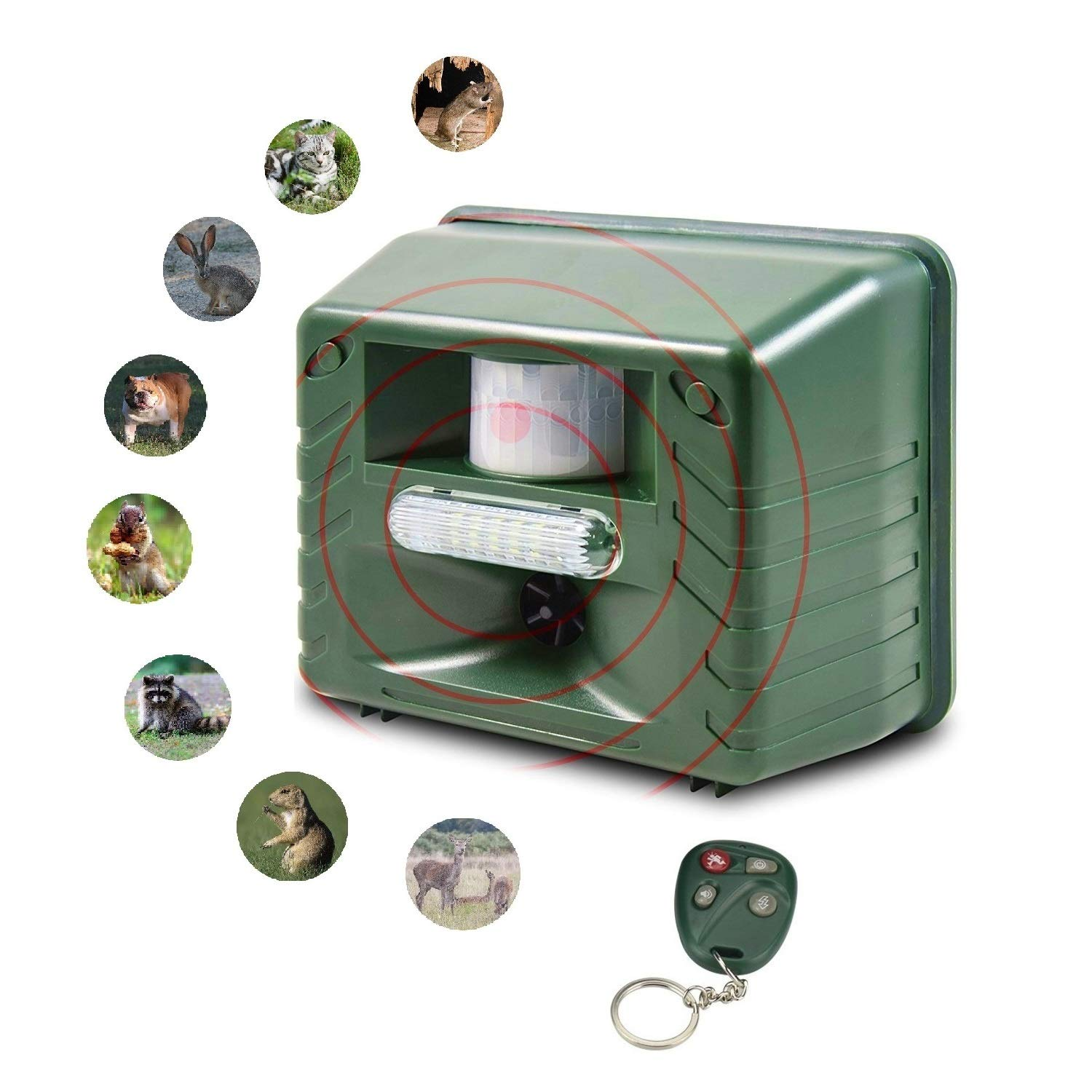 SENLUO Ultrasonic Animal Repeller | Flashing LED Lights,Eco-Friendly - Effective Pest | Animal Management Without Traps