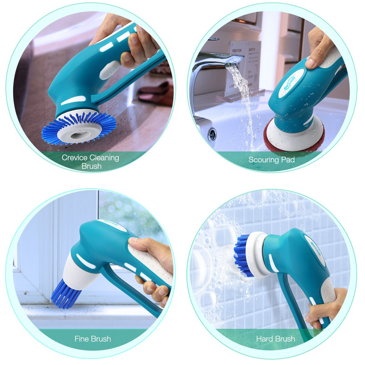 Housmile Electric Spin Scrubber, Floor Scrubber Cordless Tub and Tile Scrubber with 3 Replaceable Cleaning Scrubber Brush Heads 1 Scouring Pad, for Bathroom, Floor, Wall and Kitchen by Housmile (Image #2)