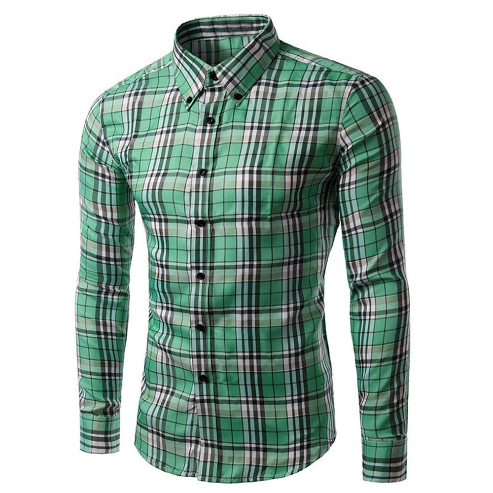 HHei_K Mens Plus Size Vintage Casual Turn-Down Collar Long Sleeve Plaid Lattice Printed Button Shirt Blouse