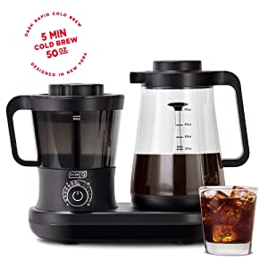 Dash Rapid Cold Brew Coffee Maker with Easy Pour Spout, 42 oz 1.5 L Carafe Pitcher, Black