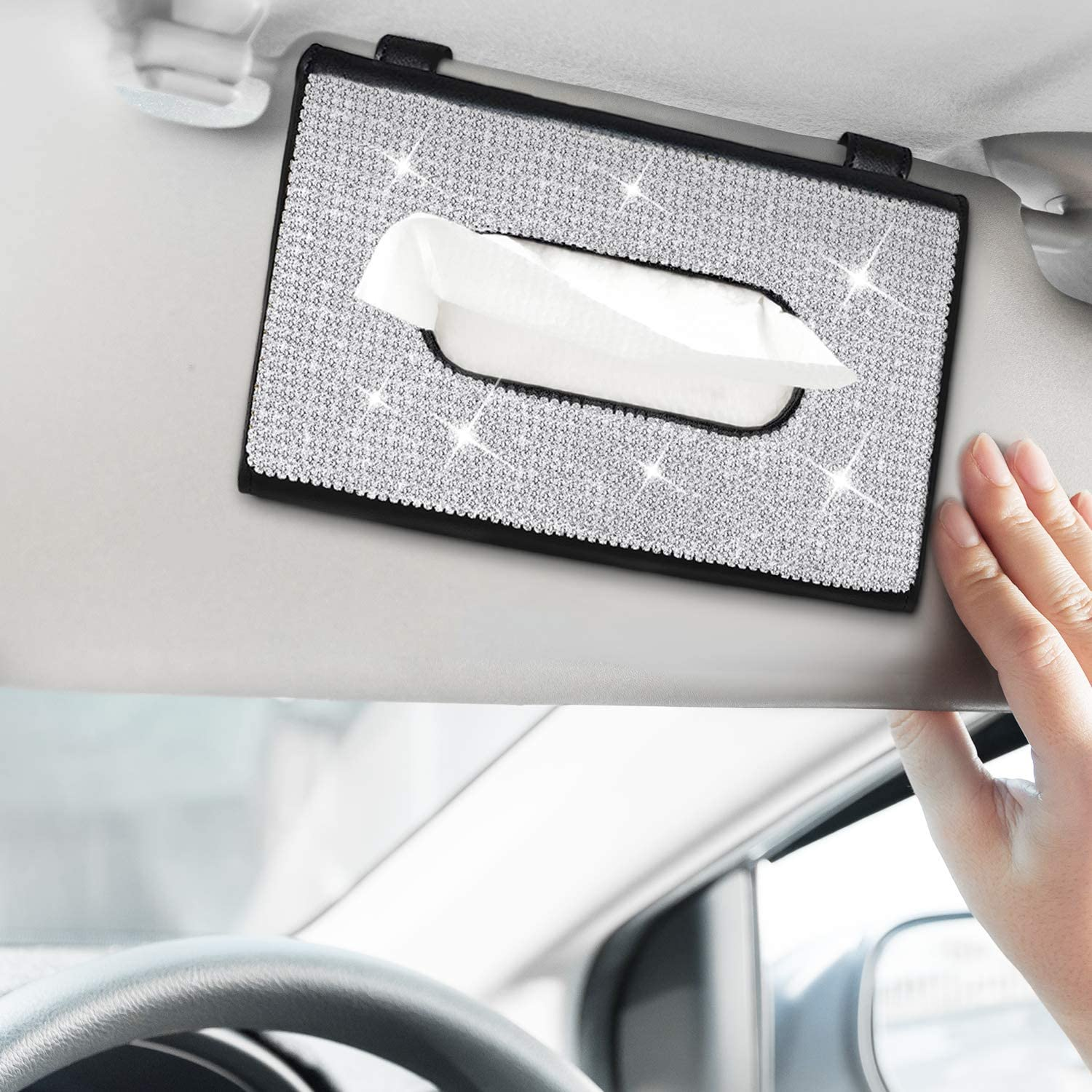 4 Pieces Bling Car Accessories Set Crystal Car Dual Port USB and Crystal Interior Ring Emblem Sticker for Women Girls Including Crystal Car Visor Paper Towel Cover Case