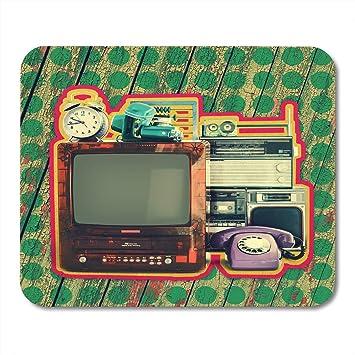 Almohadillas para mouse Aparatos blancos retro Viejos artículos para el hogar Televisor VCR Cámara de radio Alarma Grabadora de teléfono Abacus Nostalgia Alfombrilla para notebook, computadoras de esc: Amazon.es: Electrónica