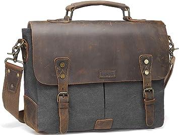 Vaschy Vintage Genuine Leather Canvas Messenger Bag Laptop Briefcase Satchel Bag