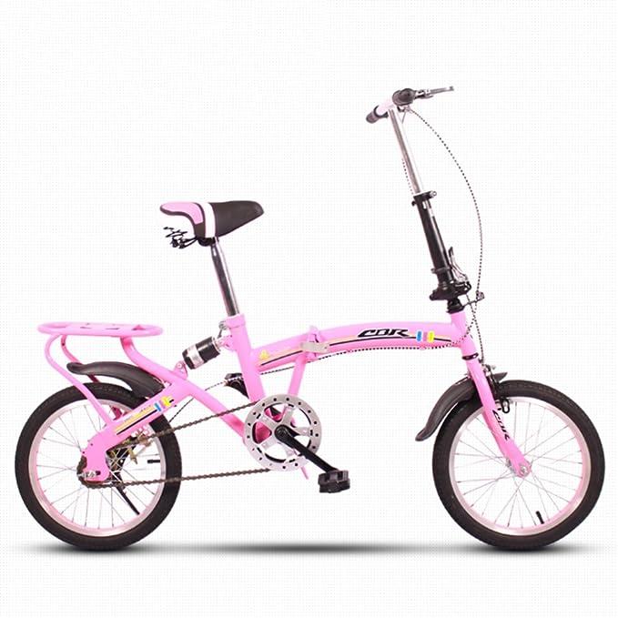 YEARLY Bicicleta plegable infantil, Bicicleta plegable estudiante Ligero Mini Portátil pequeño Amortiguador Hombre y mujer Bicicleta plegable-rosado 16inch: ...