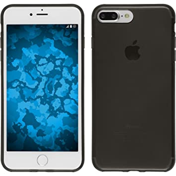 PhoneNatic Funda de Silicona Compatible con Apple iPhone 7 Plus / 8 Plus - Transparente Negro - Cover Cubierta + Protector de Pantalla