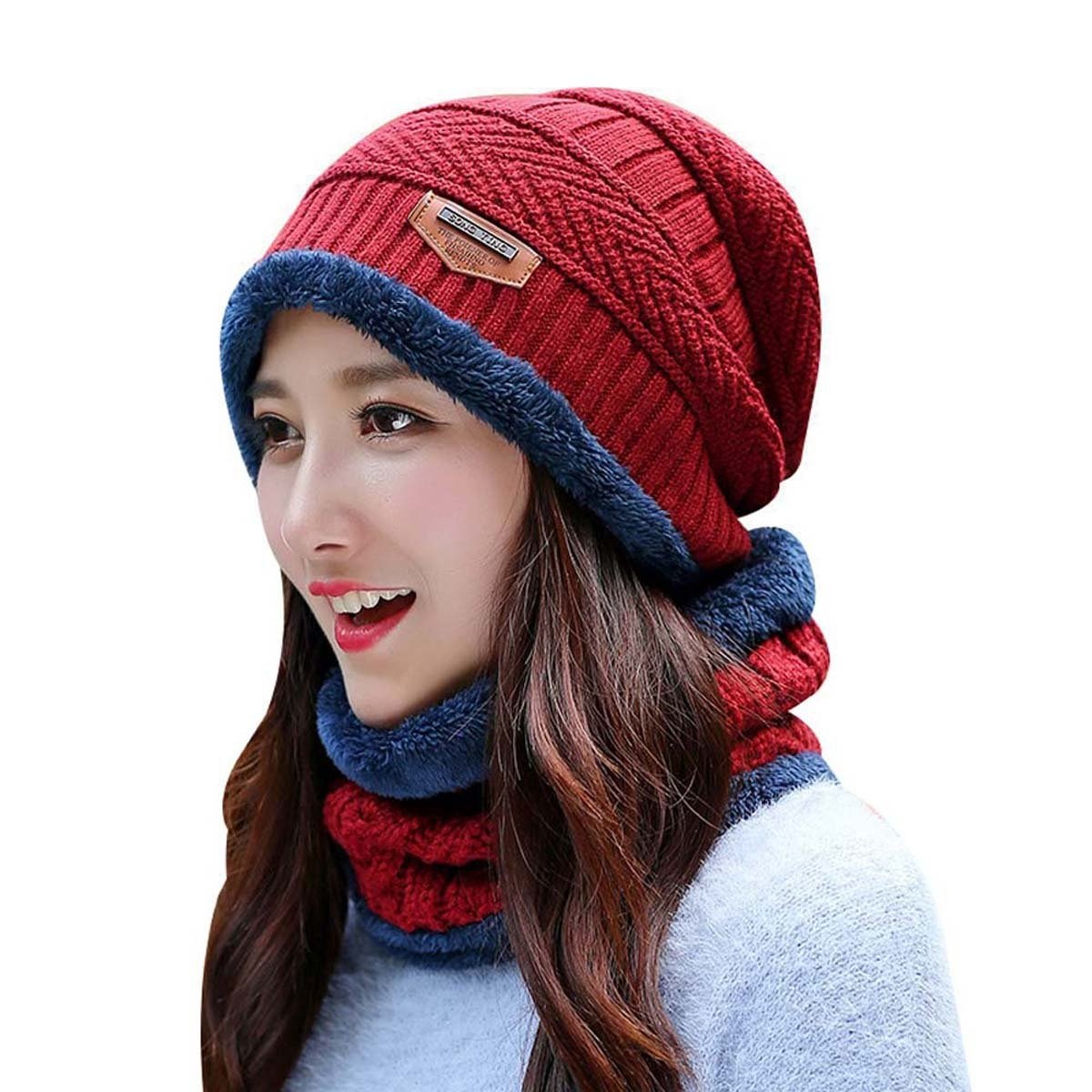 Slouchy Beanie for Women HindaWi Thick Knit Winter Hat Infinity Scarf Set Red