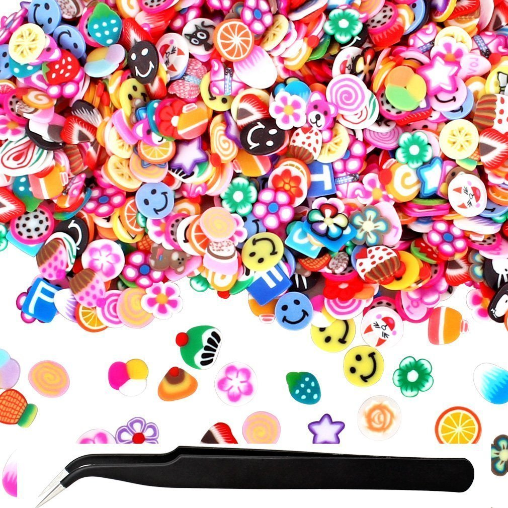 1000 Pcs Nail Art Slices Assorted Fimo 3D Fruit Pattern Slices Nail Art Stickers with Perfect for Sticking to Slime, DIY Crafts, Nail Art Decoration with 1pcs Tweezers Kixnor
