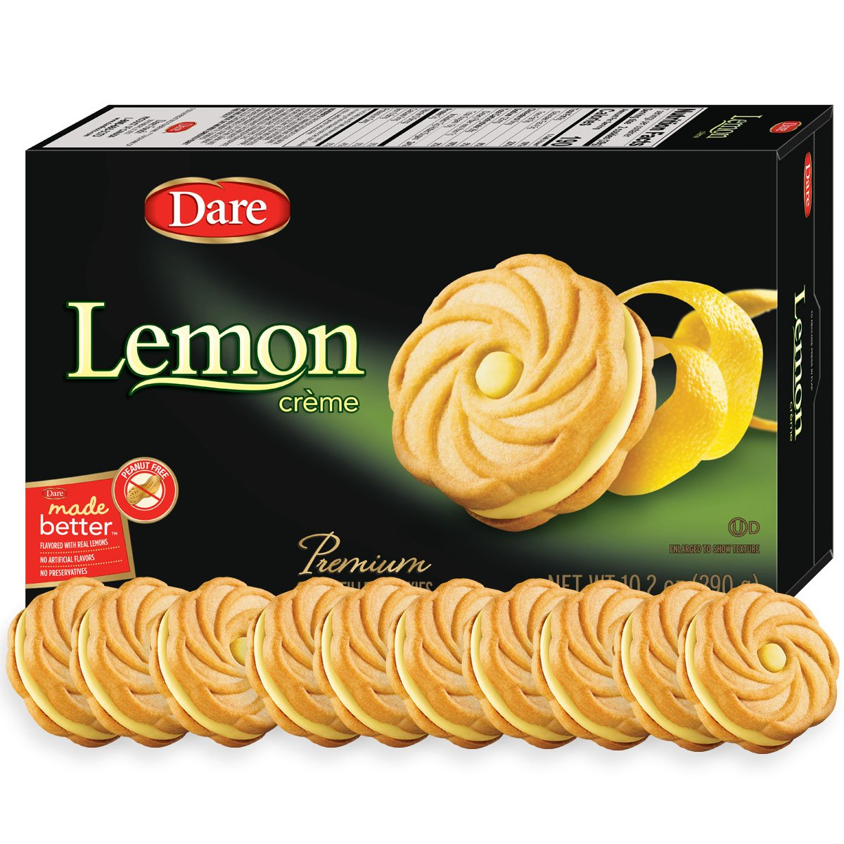 Dare Lemon Crème Cookies - Made Fresh with Real Lemon Filling and No Artificial Flavors, Peanut Free - 10.2 Ounces (Pack of 12) by Dare