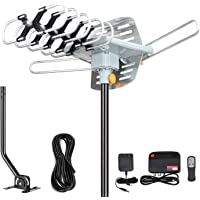 Outdoor Amplified Digital HDTV Antenna - 150 Mile Motorized 360 Degree Rotation- Amplified HD TV Antenna for 2 TVs…