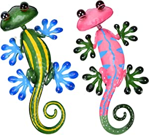 YEAHOME Metal Gecko Wall Decor - 14.6'' Lizard Art Wall Decorations with Shaking Head and Shining Eyeballs for Yard, Fence, Garden, Home, Outdoor Wall Sculptures, Set of 2, Mothers day gifts