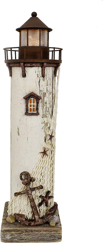 Wooden Lighthouse Decor Nautical Table Top Decor Beach Themed LED Lighthouse Home Decor Vintage Nightlights(14.75