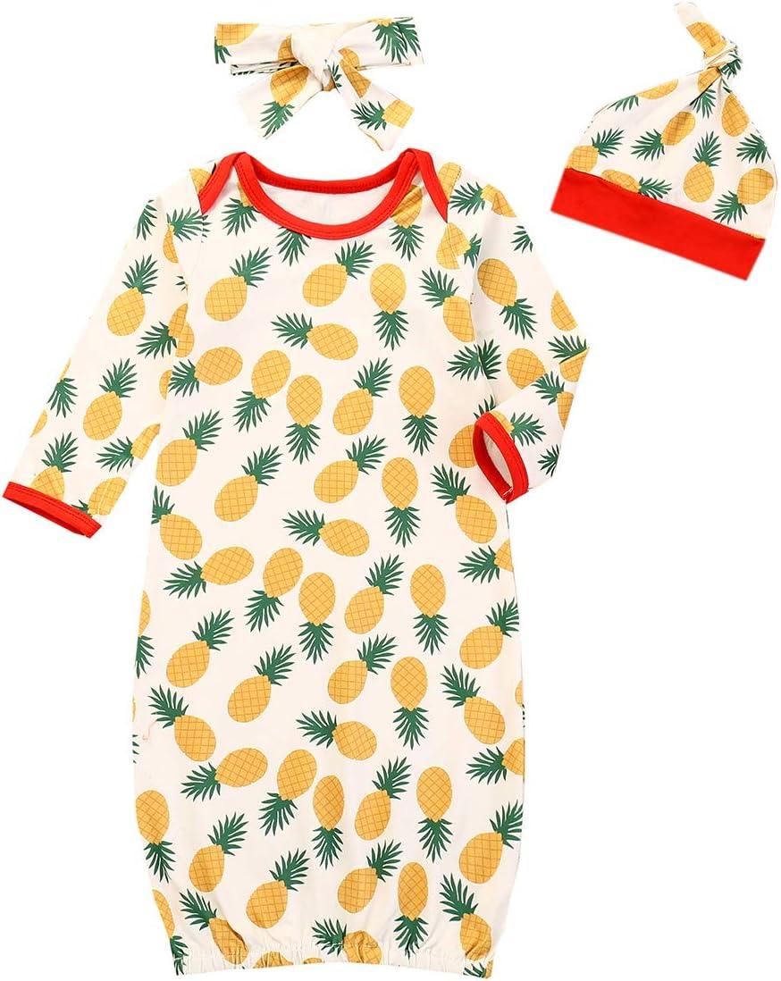 SunshineFace 3 Piezas de Ropa de Dormir para Bebés Bata de Algodón de Manga Larga con Diadema de Sombrero para Bebés de 0-12 M: Amazon.es: Deportes y aire libre